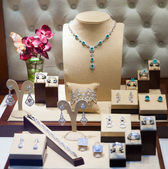 Silver jewelry at showcase   — Stock Photo