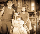 Antique portrait of happy family   — Stock Photo