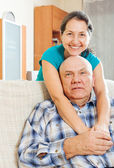 Happy mature woman with senior husband  — Stock Photo