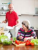 Man and  woman  doing chores — Stok fotoğraf