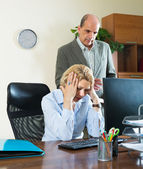 Angry chief and secretary in office — Stock Photo