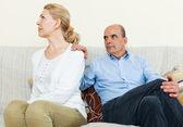 Mature couple having quarrel at home — Stock Photo