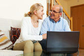 Mature couple with notebook — Photo