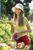 Female florist working in garden — Stock Photo