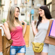 Two smiling young women doing shopping — Stock Photo #50921501