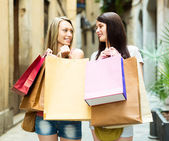 Two smiling girls rejoicing purchases — Stock Photo