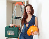 Sexy beauty woman with hardhat — Stock Photo