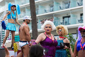 People in costumes at Gay pride parade in Sitges — Stock Photo
