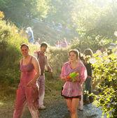 Wet people at  Batalla del vino — Stock Photo