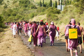 People walking to town after Haro Wine Festival — Stock Photo