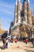 Performer over Sagrada Familia — Stock Photo