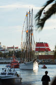 Arrival of the Magi to Barcelona port by boat — Stock Photo