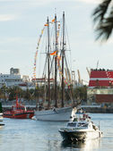Arrival of the Magi to Barcelona port by boat — Foto Stock