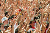 People raise their hands  — Stock Photo