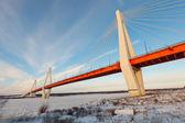 Kabel most na rzece oka — Zdjęcie stockowe