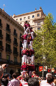 Castellers de Barcelona performing Castell — Stock Photo