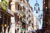 Old street in Barrio Gotico. Barcelona, Spain — Stock Photo