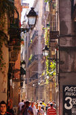 Old street in Barrio Gotico. Barcelona, Spain — Stock Photo