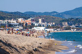 Sea sand beach  in Badalona, Spain — Stock Photo