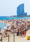 Beach and W Barcelona Hotel — Stock Photo