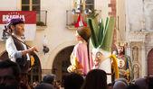 Gigantes during Calcotada festival at Valls — Stock Photo
