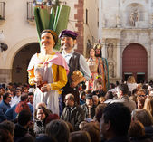 Gigantes during Calcotada festival at streets in Valls — Stock Photo