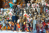 Figures of knights at showcase  in Toledo — Stock Photo