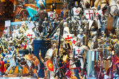 Figures of knights at showcase   — Stock Photo