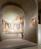 Religious fresco in  Medieval Romanesque Art hall — Stock Photo