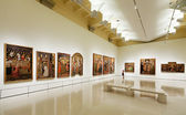 Paintings in Medieval Gothic style Art hall — Stock Photo