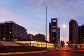 Plaza de Castilla in evening. Madrid, Spain — Stock Photo
