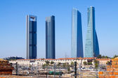 Cuatro Torres Business Area from railroad. Madrid — Stock Photo