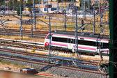 Renfe train on railroad — Zdjęcie stockowe