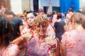 Happy people in La Tomatina festival — Stock Photo