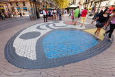 Pavement mosaic at La Rambla — Stock Photo