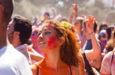 Woman at Festival of colours Holi Barcelona — Stock Photo