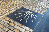 Sign of way of St. James, laid on the pavement — Stock Photo