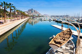 Port with yachts and and embankment. Alicante — Stock Photo