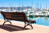 Embankment in Alicante. Focus on bench — Stock Photo