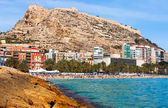 View of Alicante from Mediterranean  beach — Stock Photo