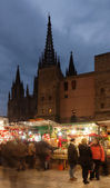 Christmas market near Cathedral in Barcelona — Stock Photo
