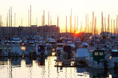 Port with  yachts  in sunrise. Alicante — Stock Photo