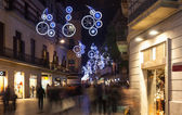 Christmas decorations on city streets in Barcelona — Stock Photo