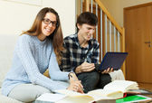 Young man and pretty woman prepare for exam  — Foto Stock