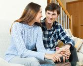 Happy couple  with pregnancy test — Stock Photo
