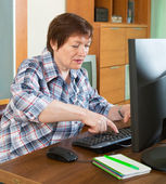 Elderly woman working with computer — Stock Photo