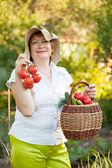Vrouw met mandje van geoogste groenten — Stockfoto