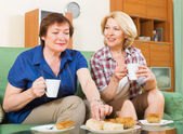 Two mature female drinking tea — Stock Photo