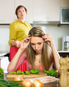 Quarrel between  daughter and  mother — Stock Photo
