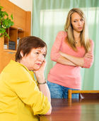 Mother and adult daughter after quarrel — Stock Photo